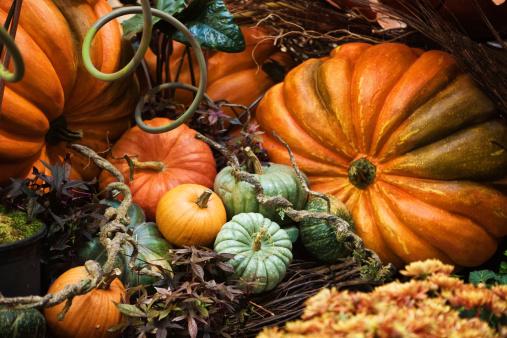 Halloween decoration,, real pumpkins.