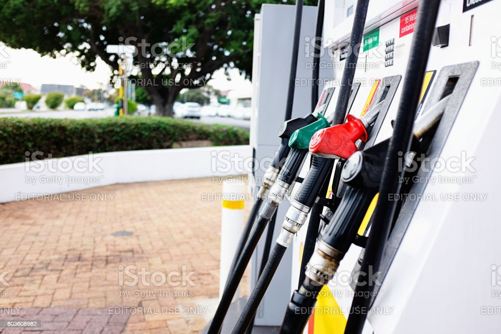 Pumps at a gas station in Cape Town stock photo