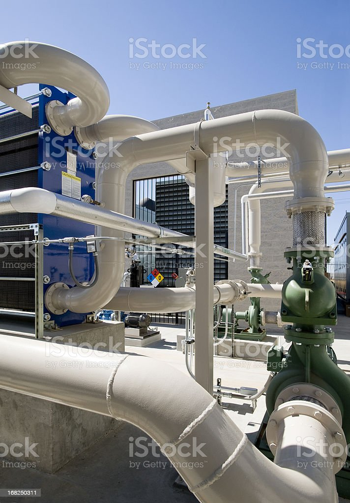 Pumps, Pipes and Cooling Towers for HVAC System. royalty-free stock photo