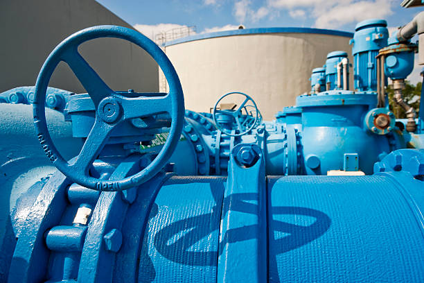 Pumps Used to Transfer Fresh Water at Public Utility  sewage treatment plant stock pictures, royalty-free photos & images