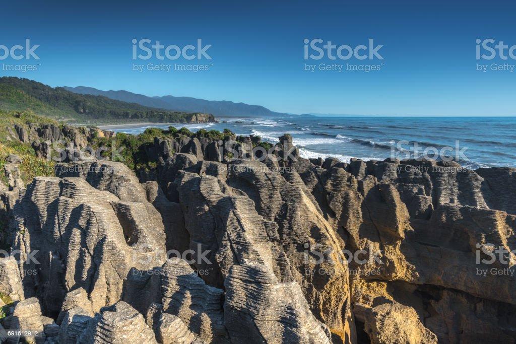 Punakaiki Pancake Rocks and Blowholes, New Zealand stock photo