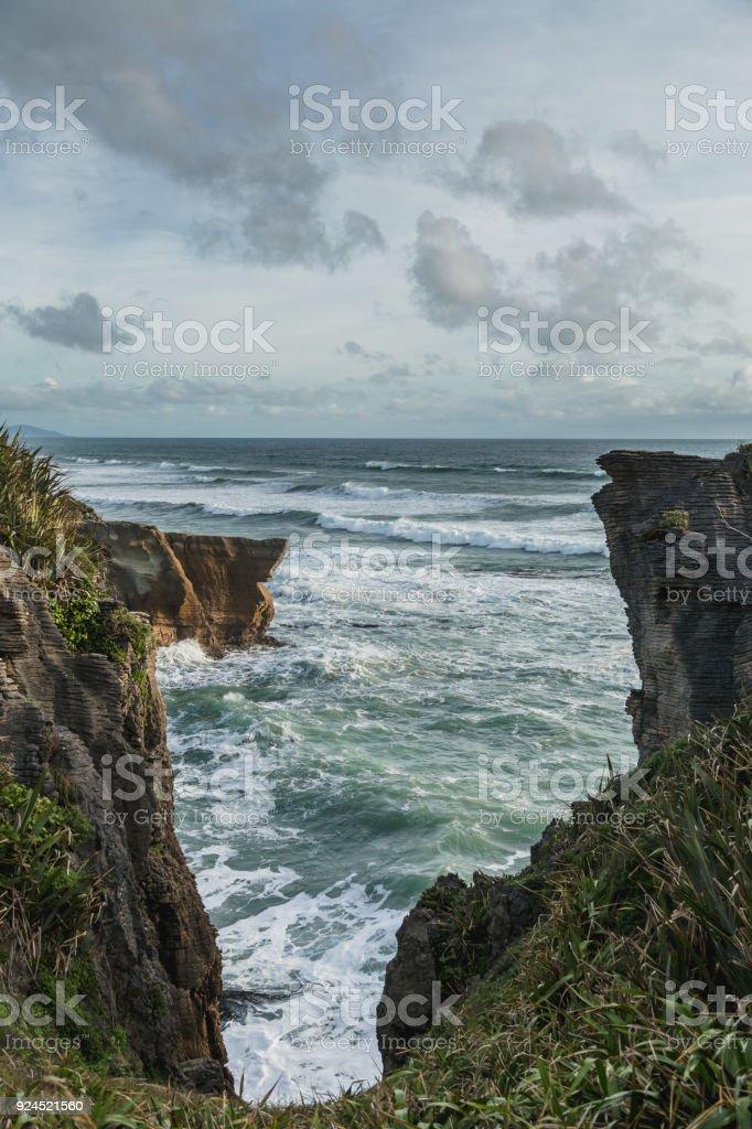 Punakaiki Pancake Rocks and Blowholes, West Coast, New Zealand stock photo