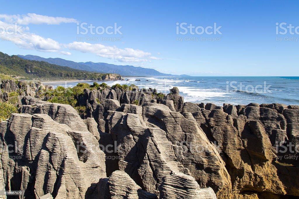 Punakaiki pancake rocks in New Zealand stock photo