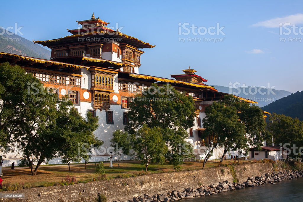 "Punakha Dzong, Bhutan The Punakha Dzong, also known as Pungtang Dechen Photrang Dzong. It's meaning ""the palace of great happiness or bliss"" 2015 Stock Photo"