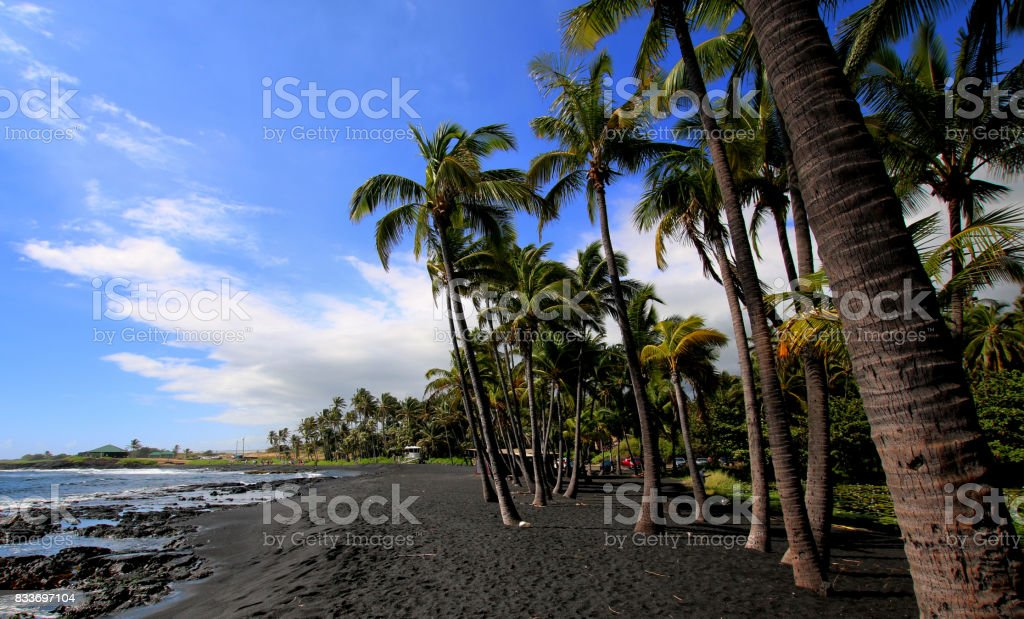 Punalu'u Beach view stock photo