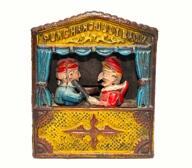punch and judy geld bank - kasperltheater stock-fotos und bilder