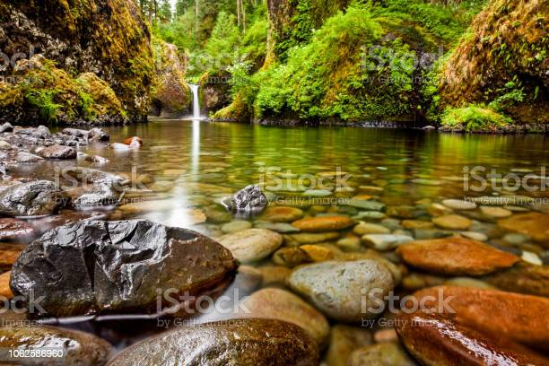 Photo of Punch Bowl Falls along the Eagle Creek Trail in Oregon with focus on the rocks in the foreground