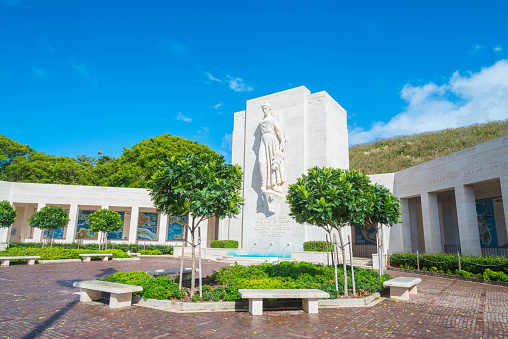 Punchbowl Cemetery or the National Memorial Cemetery of the Pacific is visited by millions of tourist and island locals every year on the tropical island of Oahu in Honolulu, Hawaii, USA.
