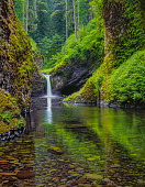 refreshing water scene, dramatic waterfall,  Historic Columbia River Highway, West Gorge - Oregon, Columbia River Gorge National Scenic Area
