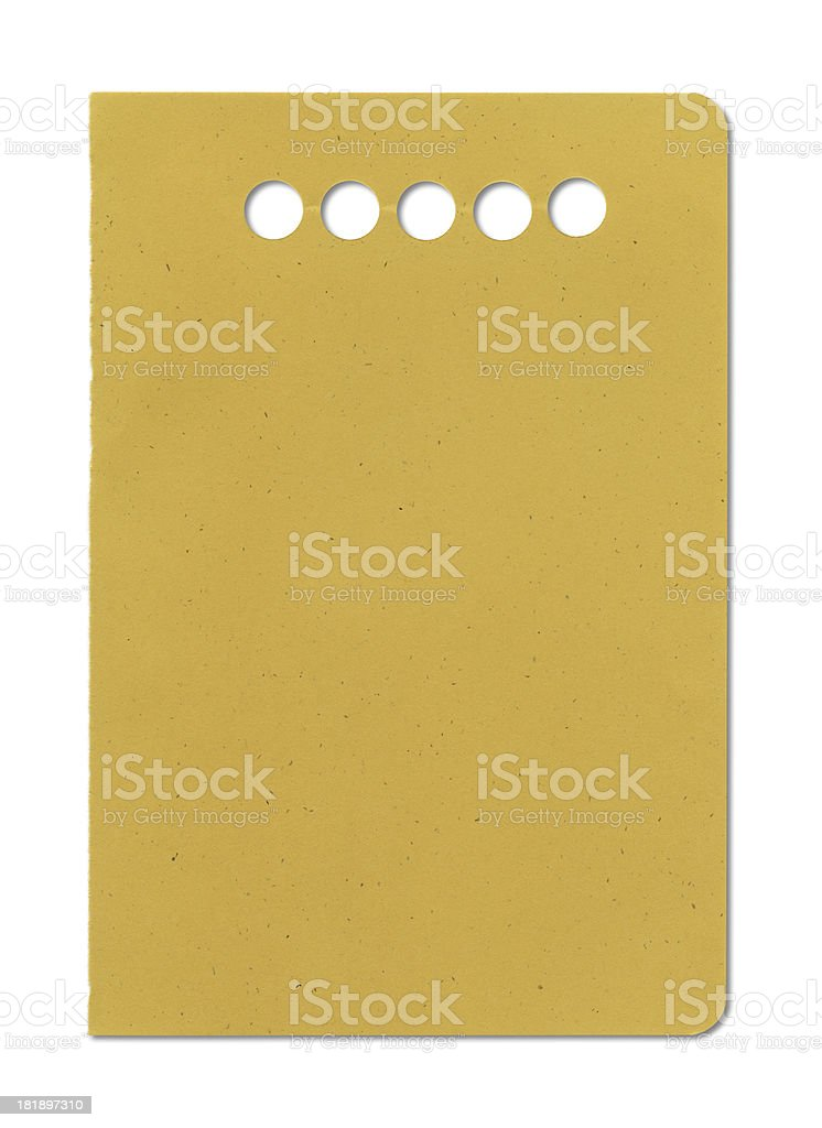 Punched Yellow Paper royalty-free stock photo
