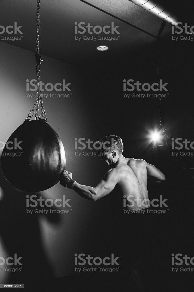 Punching Bag Boxer stock photo