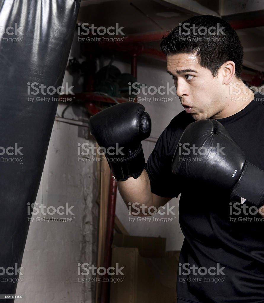 Punching bag training royalty-free stock photo