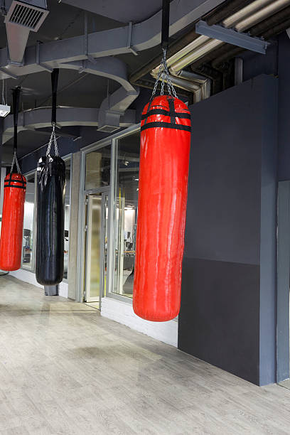 Punching Bags In Gym Stock Photo