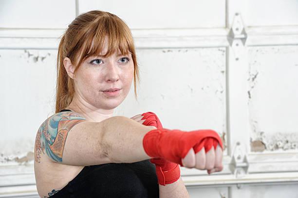 Punching fists stock photo