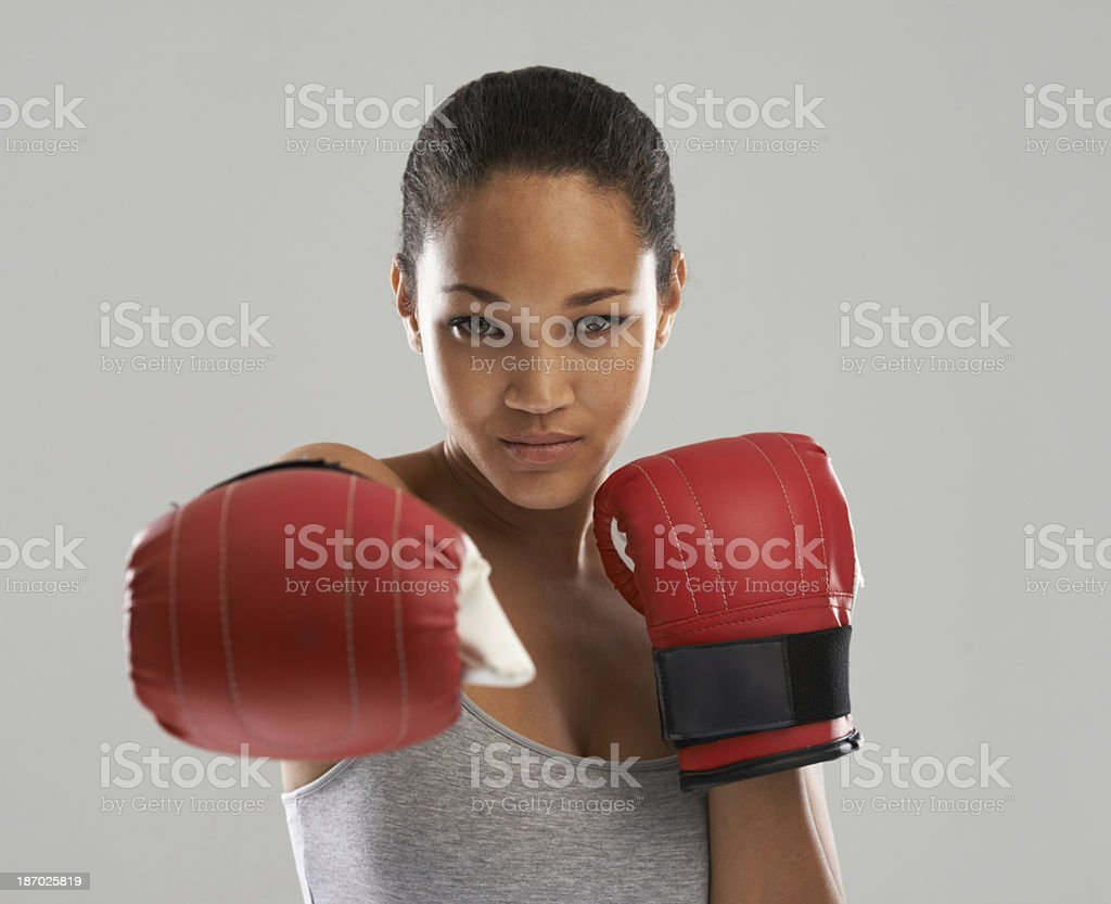 Punching weight-gain in the face stock photo