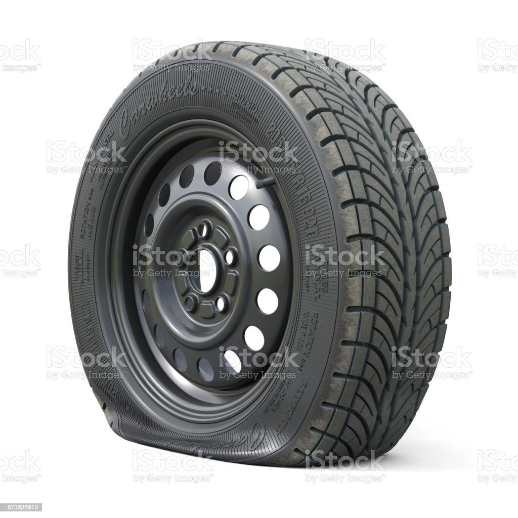 Punctured car wheel isolated on white background stock photo