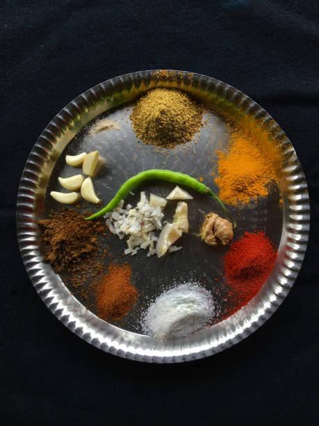 Puneri misal Ingredients Salt; Garam Masala; Goda Masala; Green Chilli; Ginger; Garlic; Turmeric; Dhania Jeera Powder; Grated Coconut Lokgram Kalyan