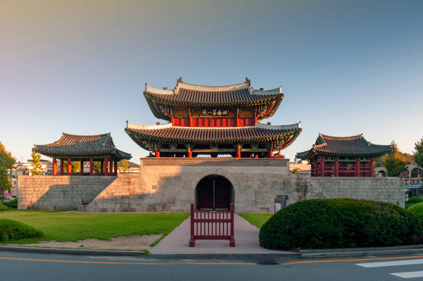 Pungnammun Gate, south gate of city wall of Jeonju remaining from Joseon Dynasty since 1768 designated as architectural treasure No. 308 of South Korea stock photo