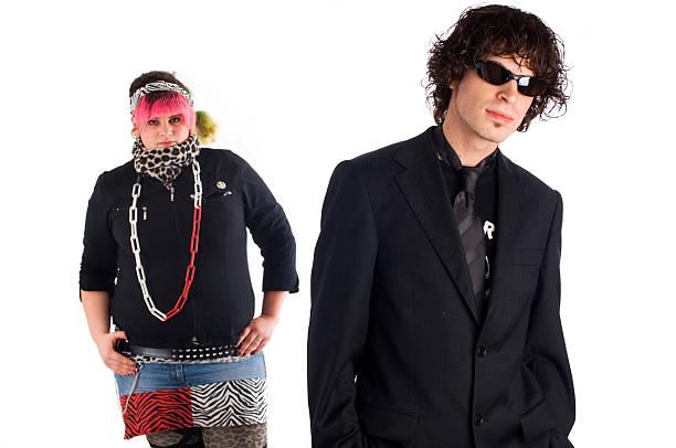 punk und business mann - ausgefallene mode für mollige stock-fotos und bilder
