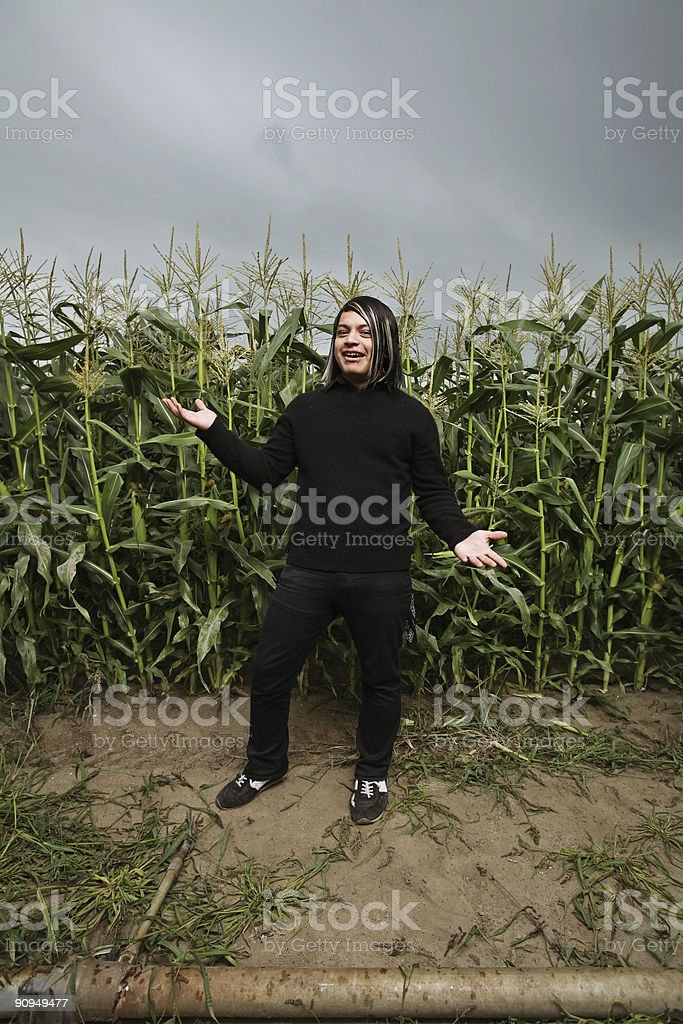Punk Dressed Man in Field royalty-free stock photo