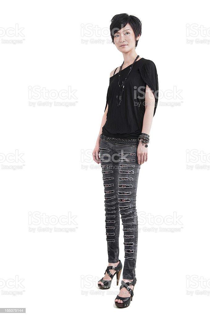 Punk girl full body royalty-free stock photo