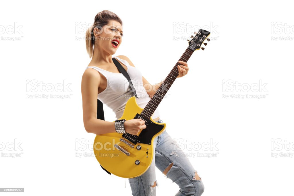 Punk Girl Playing An Electric Guitar Stock Photo Download Image Now Istock