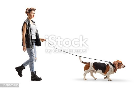 Full length profile shot of a punk girl walking with a basset hound dog on a leash isolated on white background