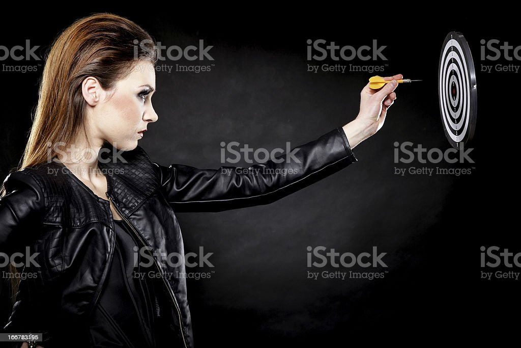 punk girl with dart and target royalty-free stock photo