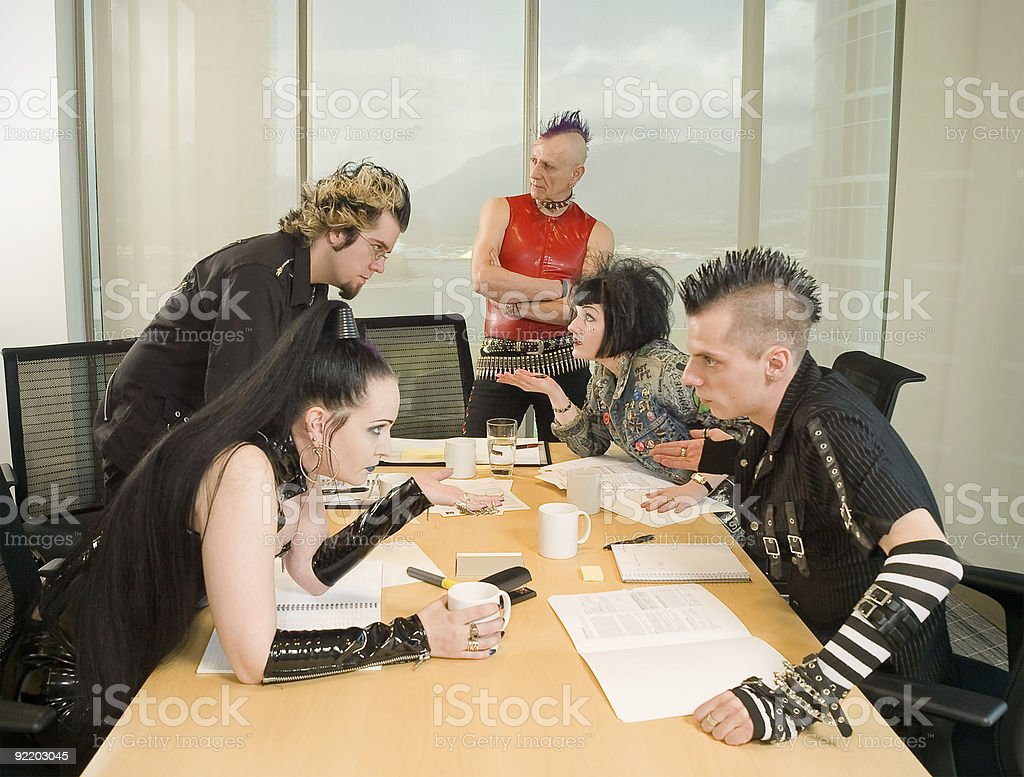 Punk Goth Alternative Business Team Arguing stock photo