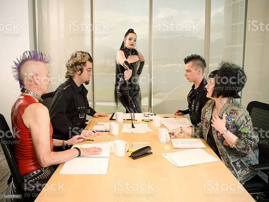 Punk Goth Alternative Business Team - Dominatrix Boss stock photo