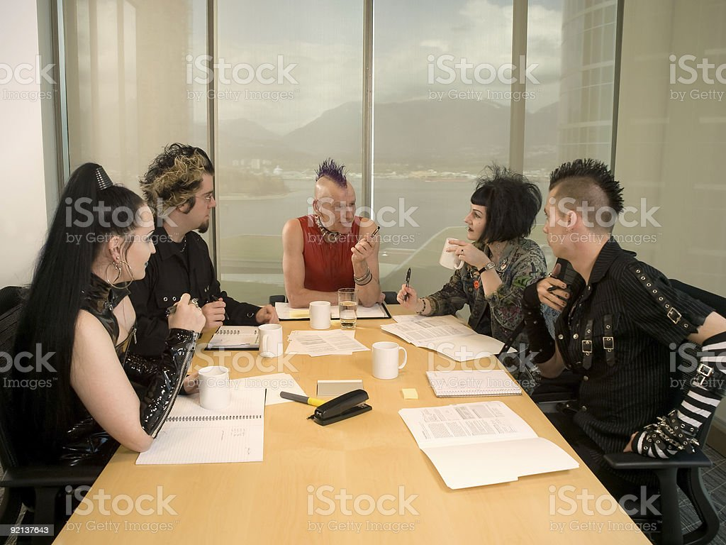 Punk Goth Alternative Business Team Mohawked CEO stock photo