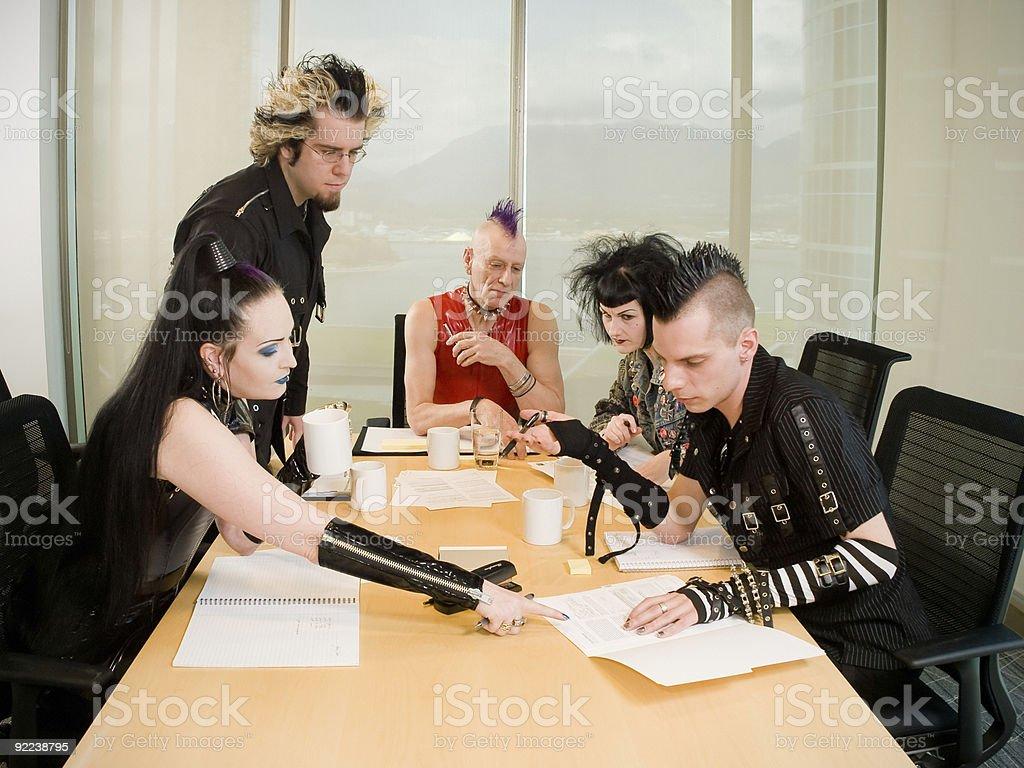 Punk Goth Alternative Business Team Working stock photo