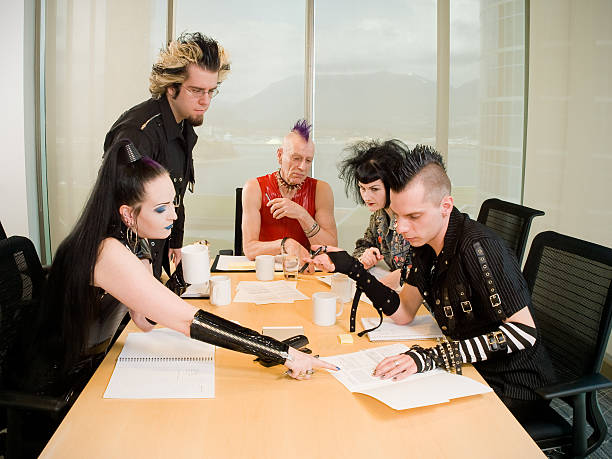 Punk Goth Alternative Business Team Working  goth stock pictures, royalty-free photos & images