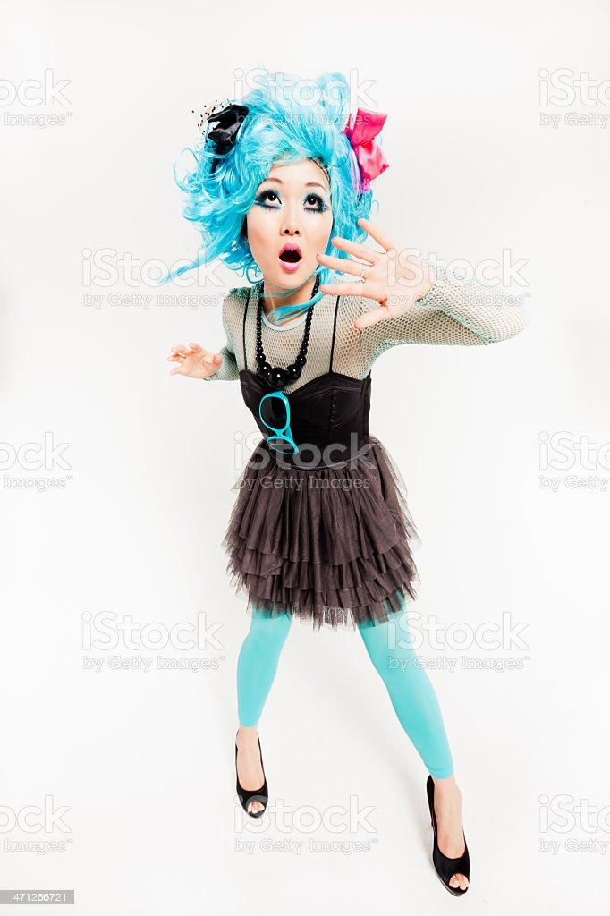 Punk Manga Style Girl Scared stock photo