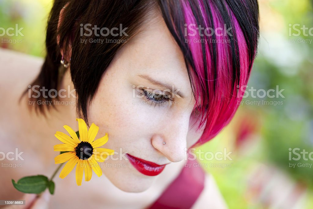 Punk Modell mit Blume - Lizenzfrei Blume Stock-Foto