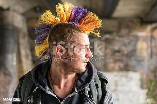 A profile portrait of a young punk in Camden Town, London.