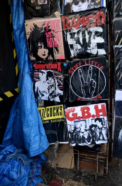 punk records on sale at camden market, london, united kingdom - punk music stock photos and pictures