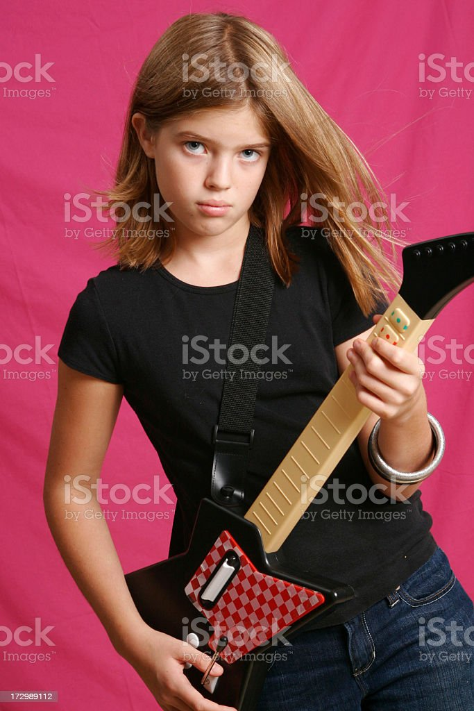 Punk Rock Girl with Guitar royalty-free stock photo