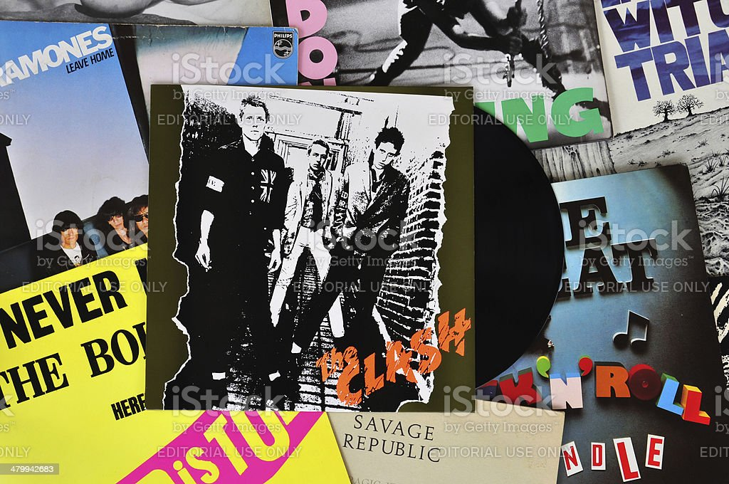 punk vinyl records stock photo