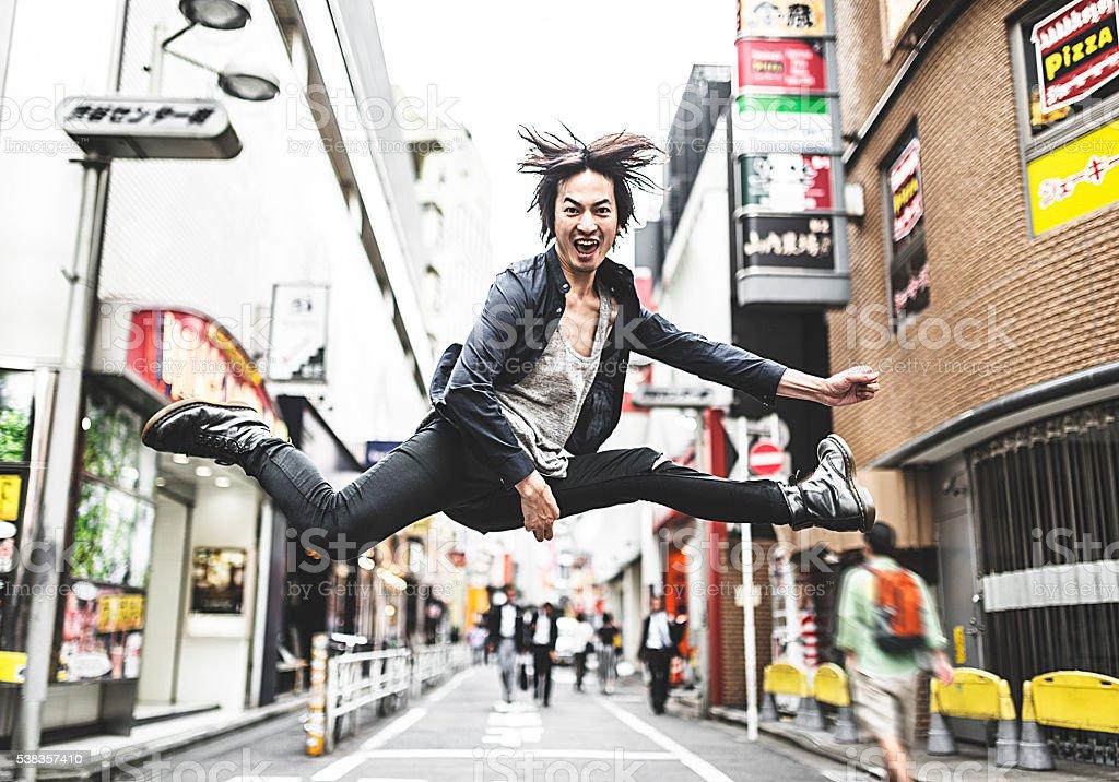 punkr ocker jumping in Tokyo stock photo