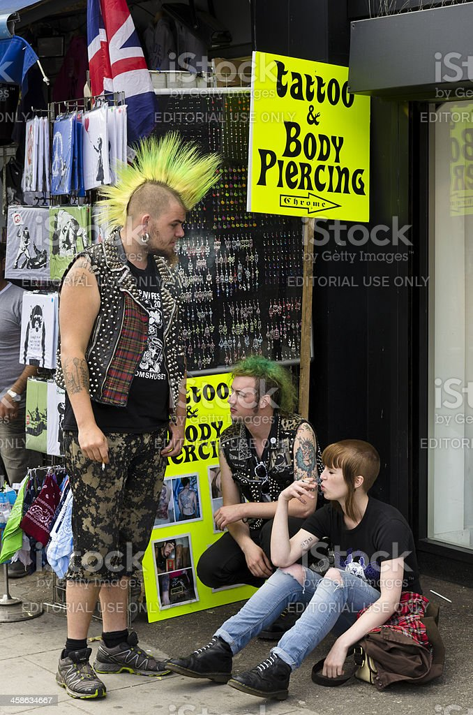 Punks in Camden, London stock photo