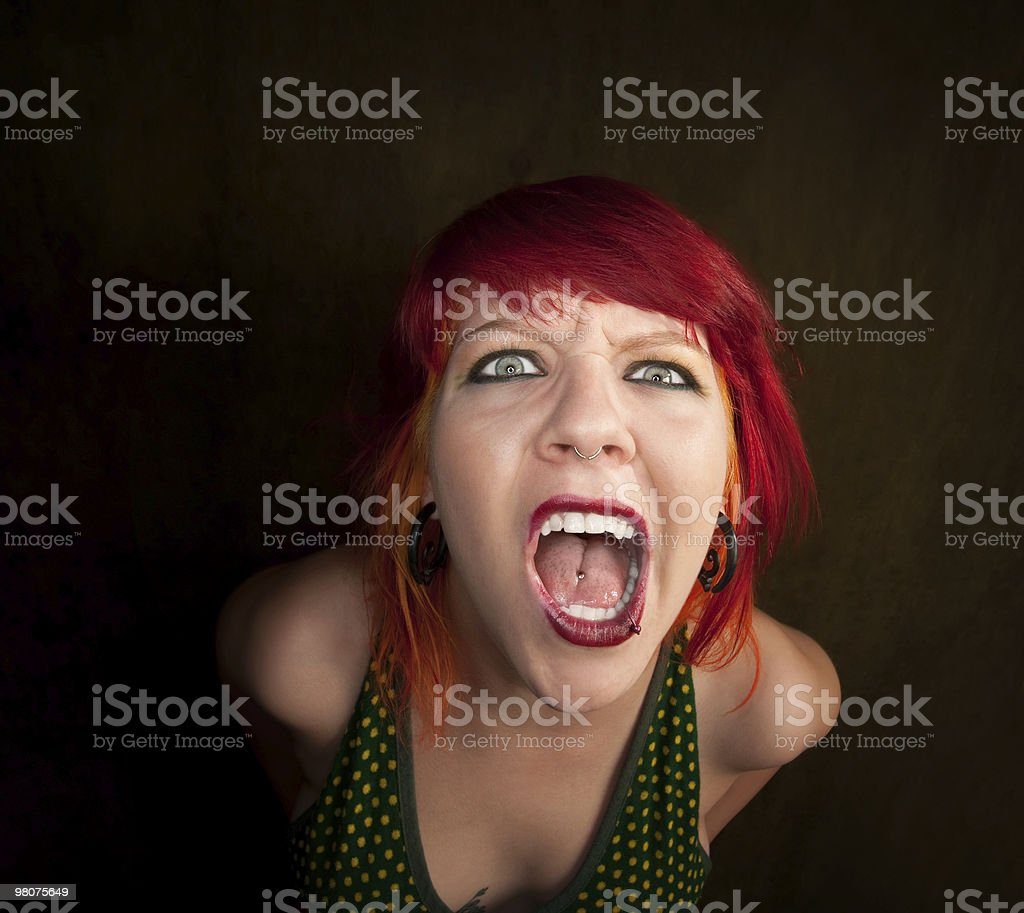 Punky Girl with Red Hair royalty-free stock photo