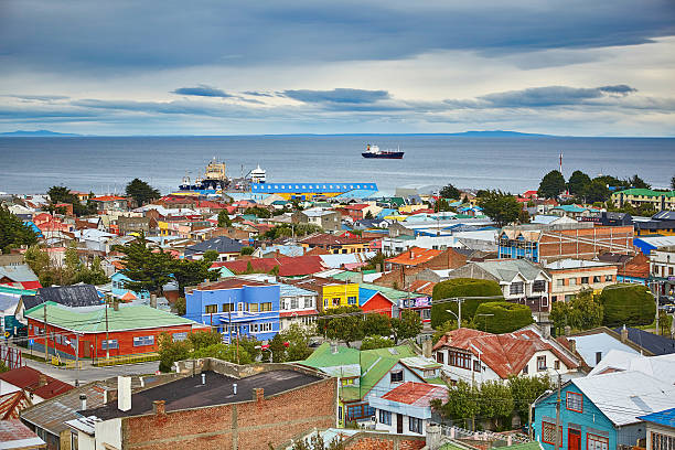 Punta Arenas with Magellan Strait in Patagonia stock photo