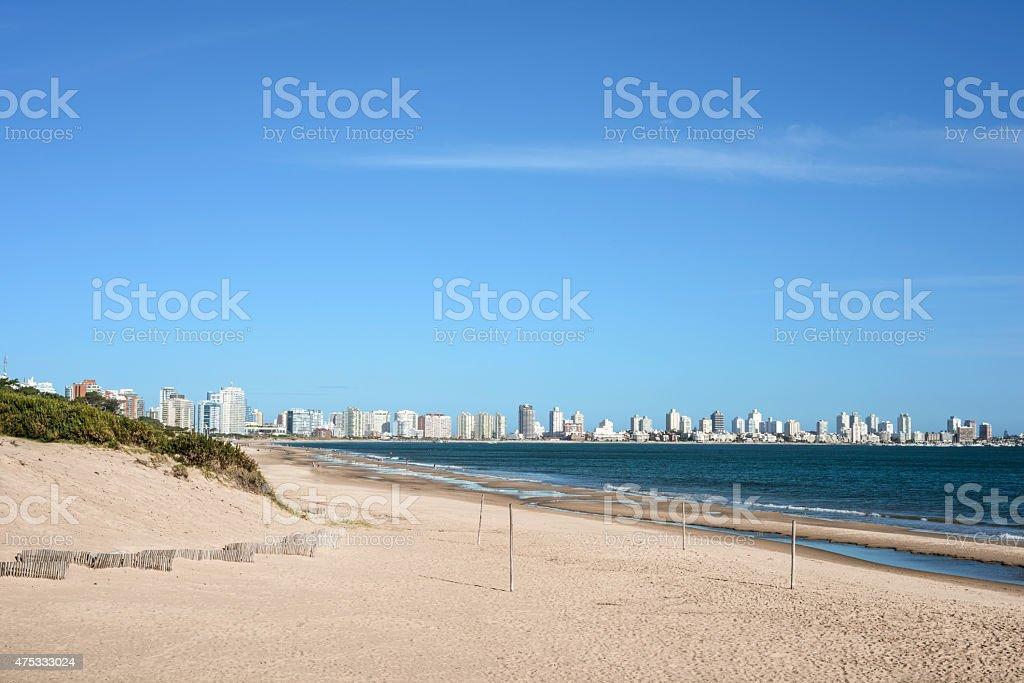 Punta del Este beach with apartment buildings in Uruguay stock photo