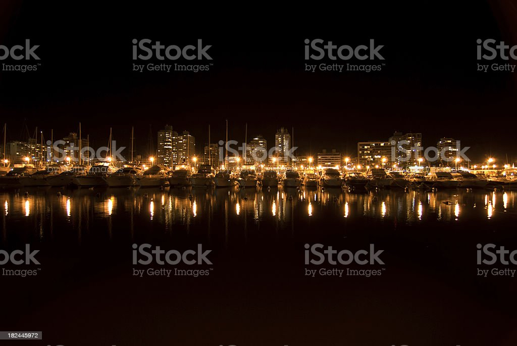 Punta del Este Marina at night (2) stock photo