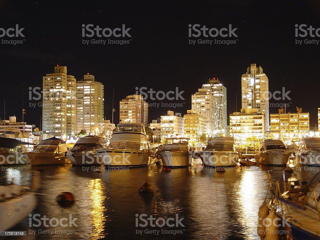 Punta del Este Marina by night stock photo