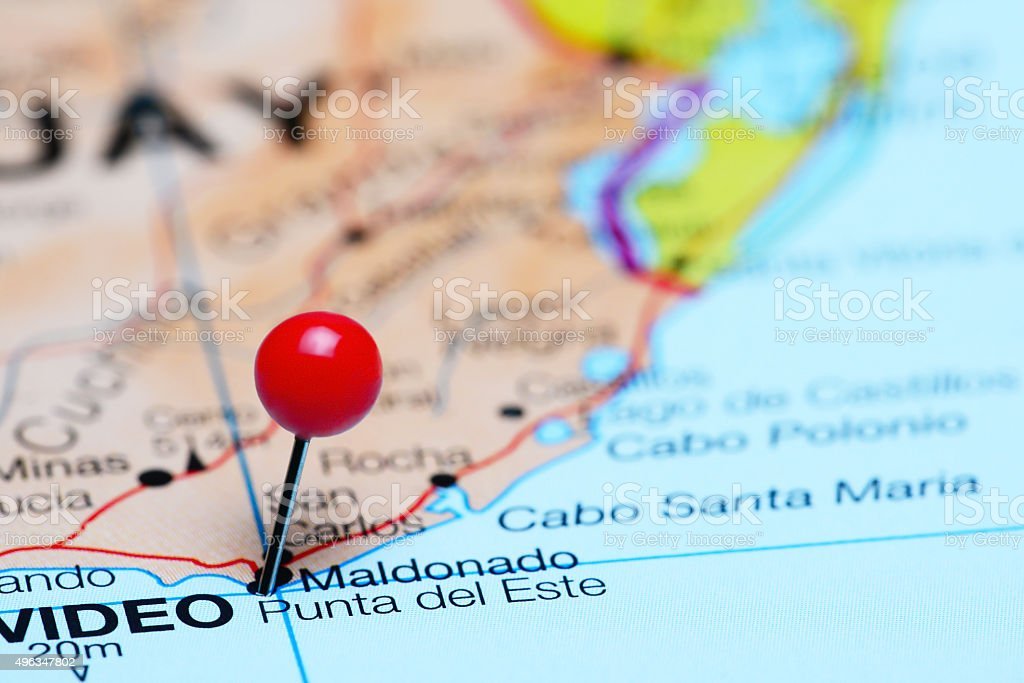 Punta del Este pinned on a map of America stock photo