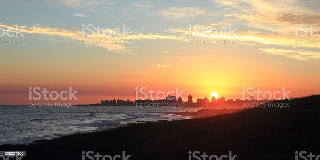 Punta del Este skyline sunset stock photo