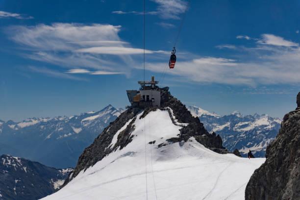 PIC de Punta Helbronner Regarde un point et la station de téléphérique sur la frontière Français-Italien. Alpes. - Photo
