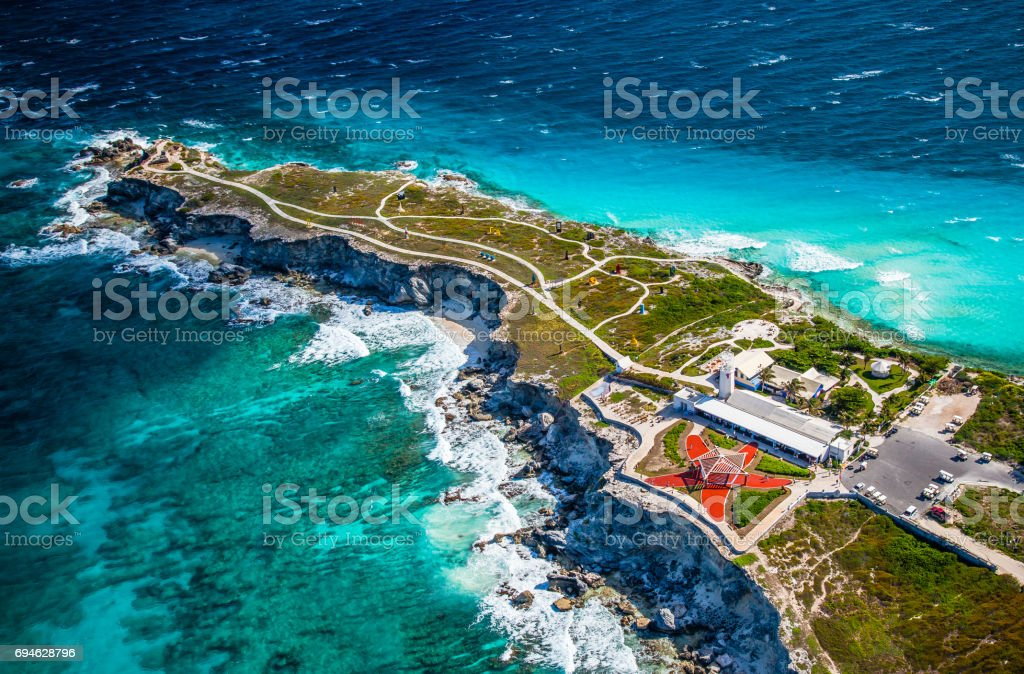 Punta Sur aerial view in Isla Mujeres stock photo